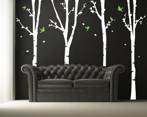 Four Super Birch Trees Wall Decal