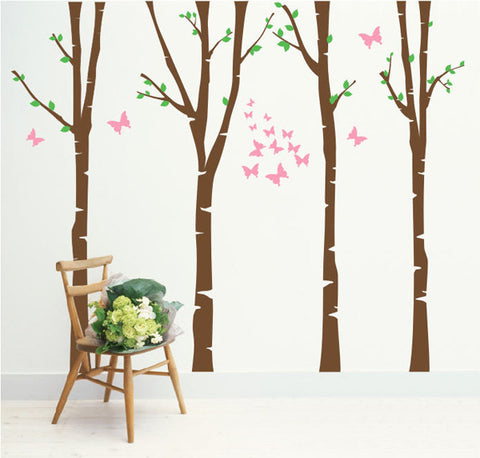 Four Super Colorful Birch Trees Decal - PopDecors,Wall Decal, Pop Decors, PopDecors