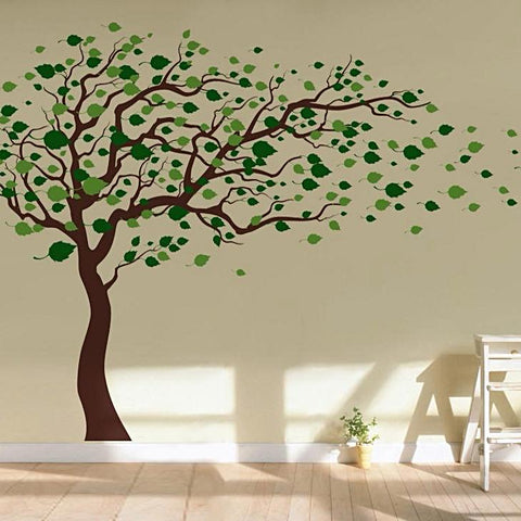 "Tree Blowing in the Wind 83"" H Wall Decals"