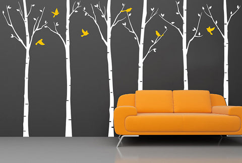 "Six Birch Trees with Birds (102""H)-Wall Decal"