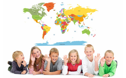 Educational World Map for Kids Room Wall Decal Vinyl Wall Stickers