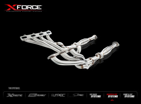 X Force Headers & Cats Kit in Stainless Steel to suit BA-BF XR8 - Cat Options