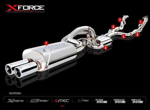X Force Cat Back Sports Exhaust so suit BA-BF Falcon XR8 Sedan