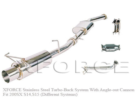 X Force Nissan Skyline R32 GTS-T 1989-93 Turbo Back Exhaust with Angle Out Canon Rear - Exhaust Systems Direct