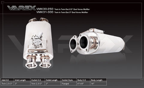 XFORCE  Universal Varex Muffler Oval Twin In Twin Out Stainless Steel 3""