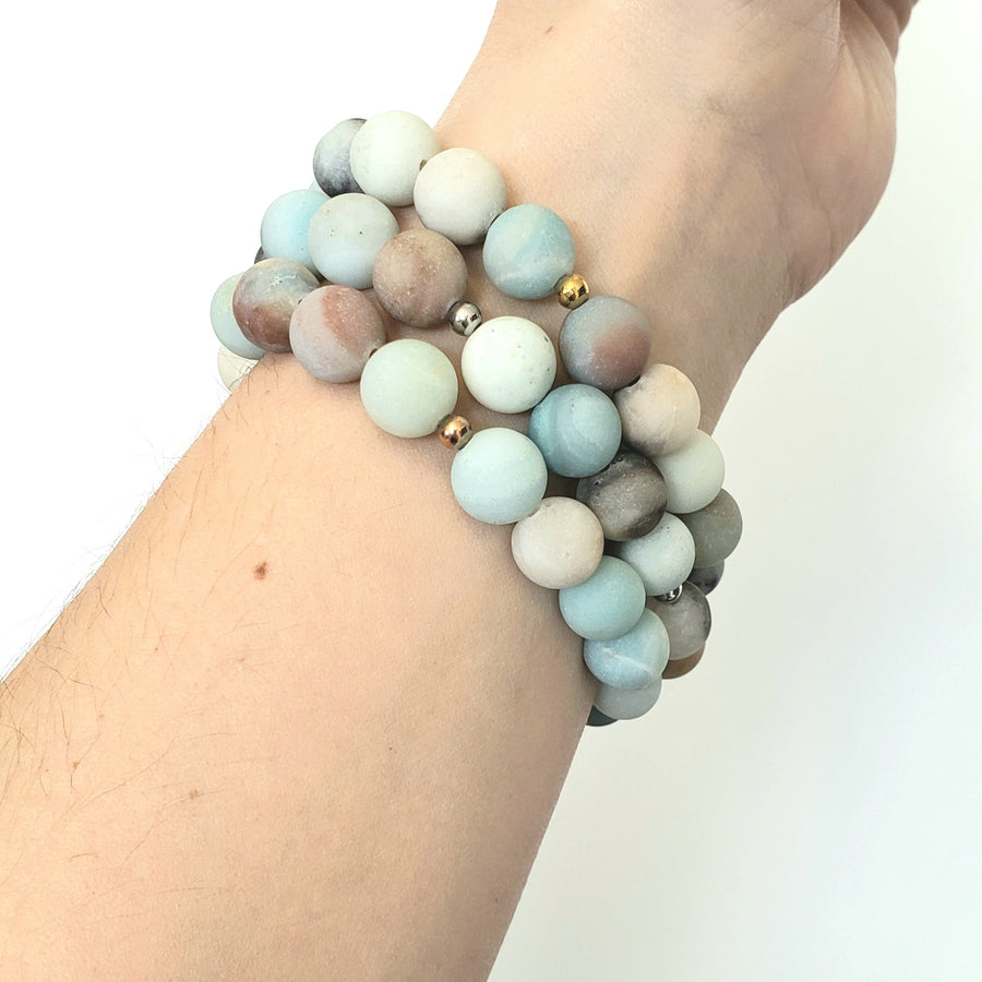 Matte Amazonite Bracelet- Large Beads - Mala & Me- Gemstones with beautiful geometric pendents inspired by nature- Jewlery used for meditation, setting intentions and enhancing your yoga practice. Each gemstone holds unique healing properties