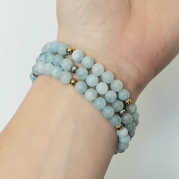 Aquamarine Bracelet- Small Beads - Mala & Me- Gemstones with beautiful geometric pendents inspired by nature- Jewlery used for meditation, setting intentions and enhancing your yoga practice. Each gemstone holds unique healing properties