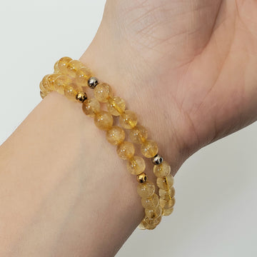 Citrine Bracelet- Small Beads - Mala & Me- Gemstones with beautiful geometric pendents inspired by nature- Jewlery used for meditation, setting intentions and enhancing your yoga practice. Each gemstone holds unique healing properties