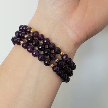 Amethyst Bracelet- Small Beads - Mala & Me- Gemstones with beautiful geometric pendents inspired by nature- Jewlery used for meditation, setting intentions and enhancing your yoga practice. Each gemstone holds unique healing properties
