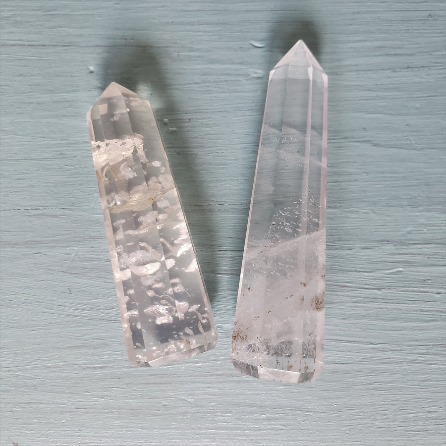 Clear Quartz Point - Mala & Me- Gemstones with beautiful geometric pendents inspired by nature- Jewlery used for meditation, setting intentions and enhancing your yoga practice. Each gemstone holds unique healing properties