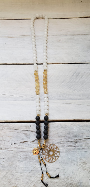 White Jade, Citrine & Lava - Mini Mala