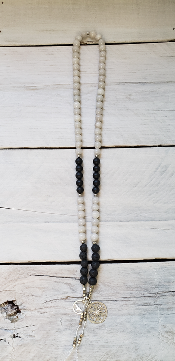Grey Jade, Matte Black Onyx & Lava - Mini Mala