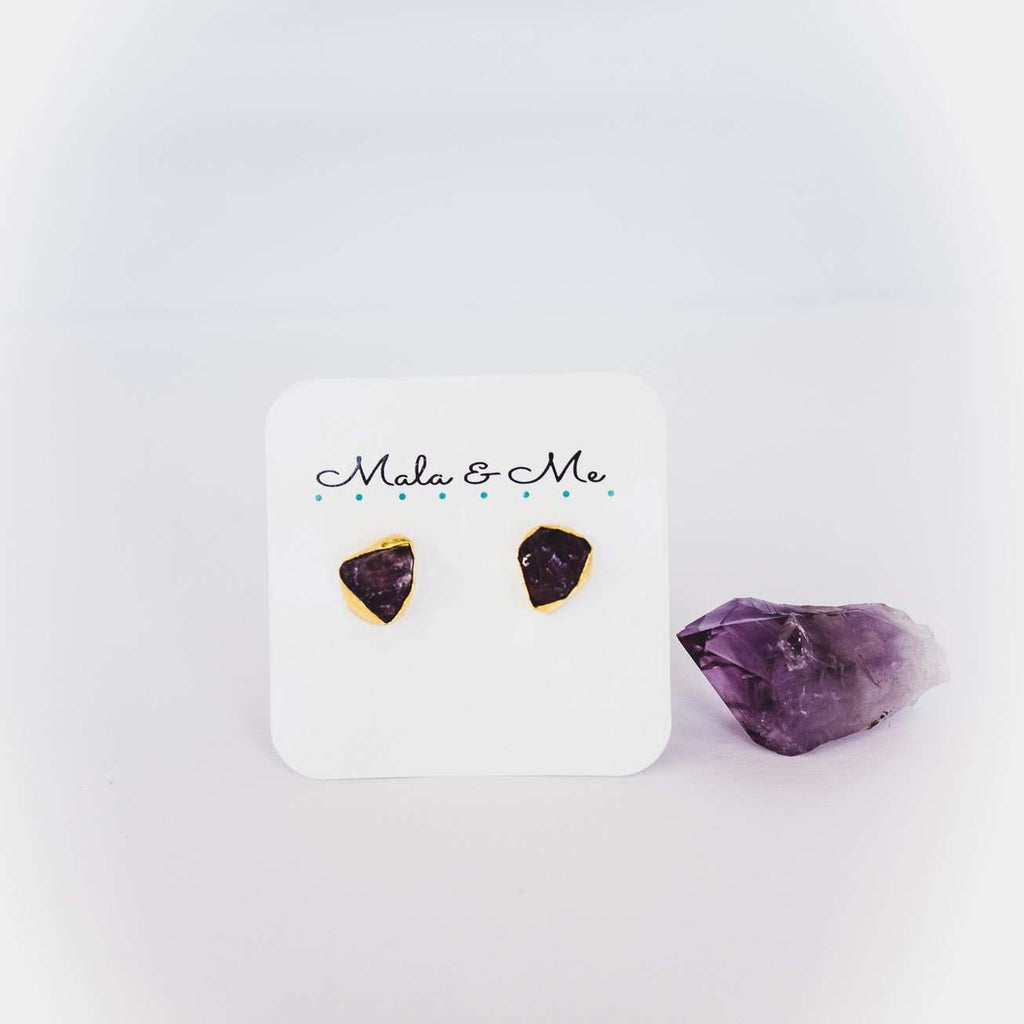 Amethyst Earrings - Mala & Me- Gemstones with beautiful geometric pendents inspired by nature- Jewlery used for meditation, setting intentions and enhancing your yoga practice. Each gemstone holds unique healing properties