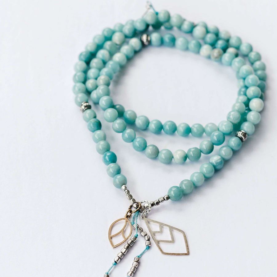 Freedom Mala - Mala & Me- Gemstones with beautiful geometric pendents inspired by nature- Jewlery used for meditation, setting intentions and enhancing your yoga practice. Each gemstone holds unique healing properties