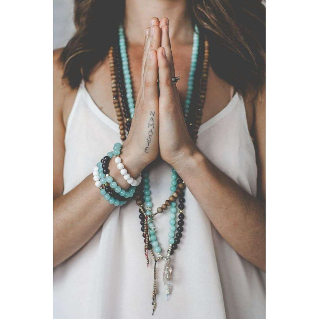 Amazonite Bracelet - Mala & Me- Gemstones with beautiful geometric pendents inspired by nature- Jewlery used for meditation, setting intentions and enhancing your yoga practice. Each gemstone holds unique healing properties