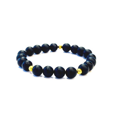 Matte Black Onyx Bracelet - Mala & Me- Gemstones with beautiful geometric pendents inspired by nature- Jewlery used for meditation, setting intentions and enhancing your yoga practice. Each gemstone holds unique healing properties