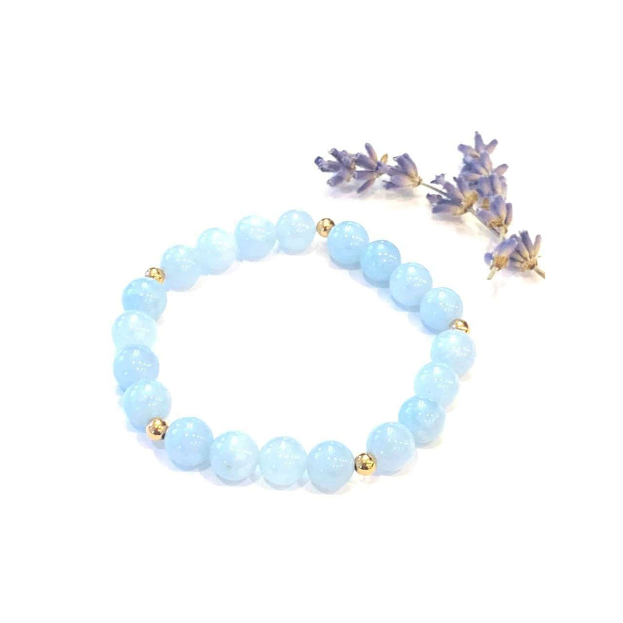 Blue Jade Bracelet - Mala & Me- Gemstones with beautiful geometric pendents inspired by nature- Jewlery used for meditation, setting intentions and enhancing your yoga practice. Each gemstone holds unique healing properties