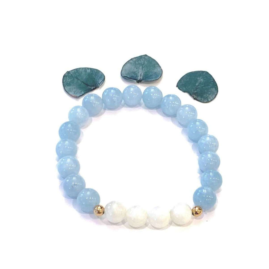 Blue Jade + Moonstone Bracelet - Mala & Me- Gemstones with beautiful geometric pendents inspired by nature- Jewlery used for meditation, setting intentions and enhancing your yoga practice. Each gemstone holds unique healing properties