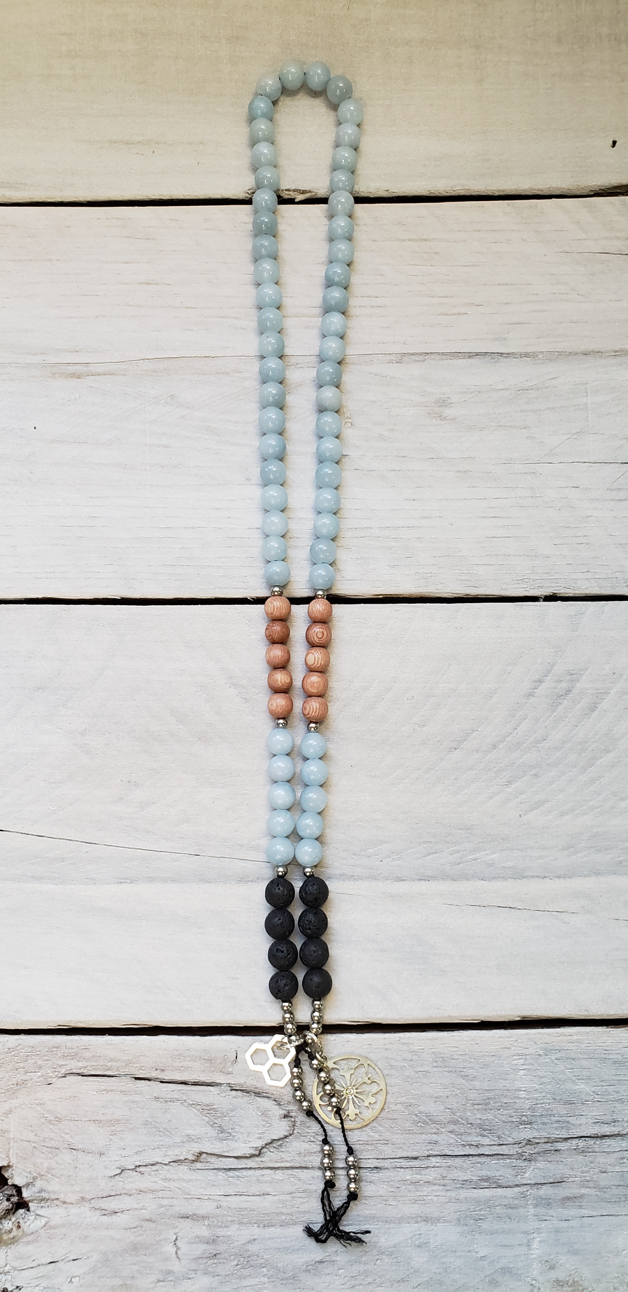 Blue jade, Rosewood and Lava - Mini Mala