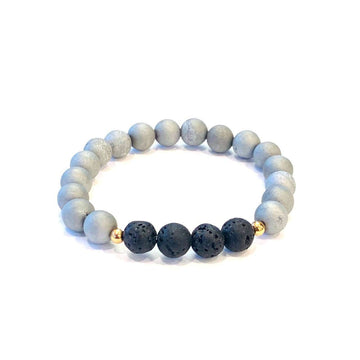 Matte Grey Druzy + Lava Bracelet - Mala & Me- Gemstones with beautiful geometric pendents inspired by nature- Jewlery used for meditation, setting intentions and enhancing your yoga practice. Each gemstone holds unique healing properties