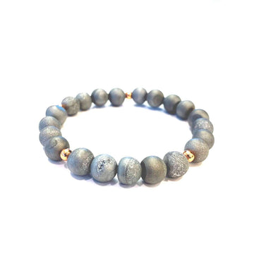 Matte Grey Druzy Bracelet - Mala & Me- Gemstones with beautiful geometric pendents inspired by nature- Jewlery used for meditation, setting intentions and enhancing your yoga practice. Each gemstone holds unique healing properties