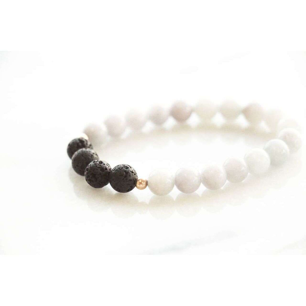 Grey Jade + Lava Bracelet - Mala & Me- Gemstones with beautiful geometric pendents inspired by nature- Jewlery used for meditation, setting intentions and enhancing your yoga practice. Each gemstone holds unique healing properties