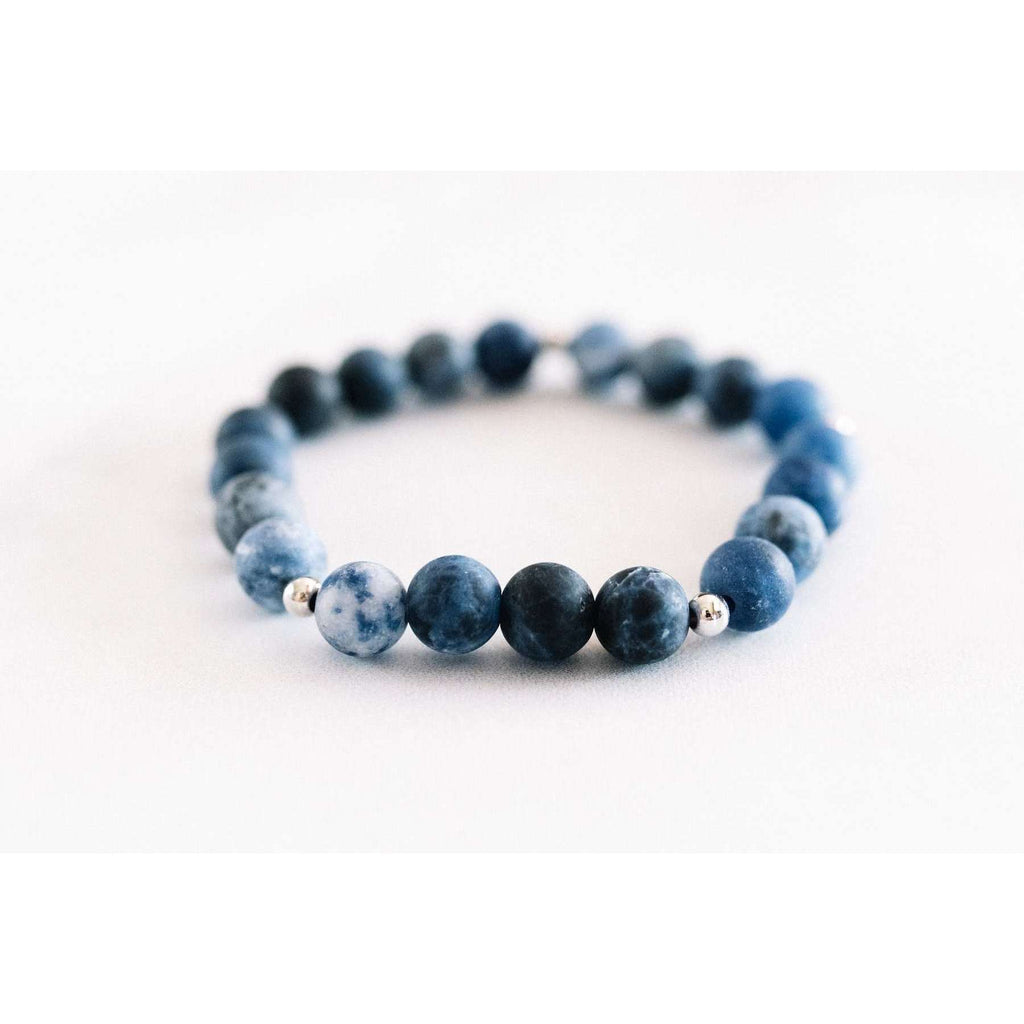 Matte Sodalite Bracelet - Mala & Me- Gemstones with beautiful geometric pendents inspired by nature- Jewlery used for meditation, setting intentions and enhancing your yoga practice. Each gemstone holds unique healing properties