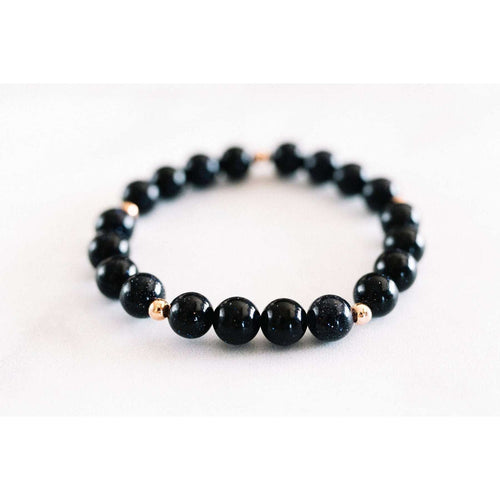 Blue Goldstone Bracelet - Mala & Me- Gemstones with beautiful geometric pendents inspired by nature- Jewlery used for meditation, setting intentions and enhancing your yoga practice. Each gemstone holds unique healing properties