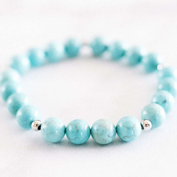 Turquoise Bracelet - Mala & Me- Gemstones with beautiful geometric pendents inspired by nature- Jewlery used for meditation, setting intentions and enhancing your yoga practice. Each gemstone holds unique healing properties