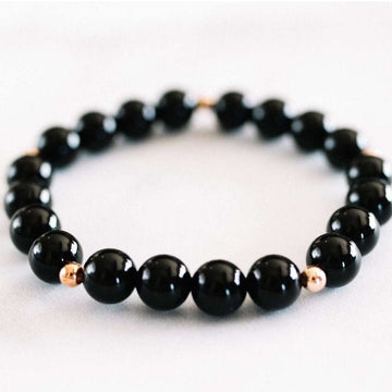 Black Onyx Bracelet - Mala & Me- Gemstones with beautiful geometric pendents inspired by nature- Jewlery used for meditation, setting intentions and enhancing your yoga practice. Each gemstone holds unique healing properties