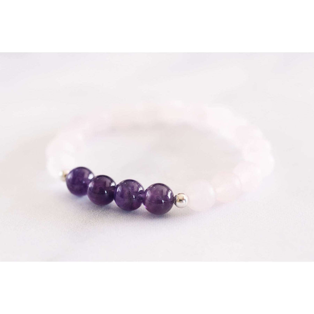 Matte Rose Quartz+ Amethyst Bracelet - Mala & Me- Gemstones with beautiful geometric pendents inspired by nature- Jewlery used for meditation, setting intentions and enhancing your yoga practice. Each gemstone holds unique healing properties