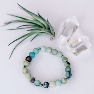 Matte Amazonite Bracelet - Mala & Me- Gemstones with beautiful geometric pendents inspired by nature- Jewlery used for meditation, setting intentions and enhancing your yoga practice. Each gemstone holds unique healing properties