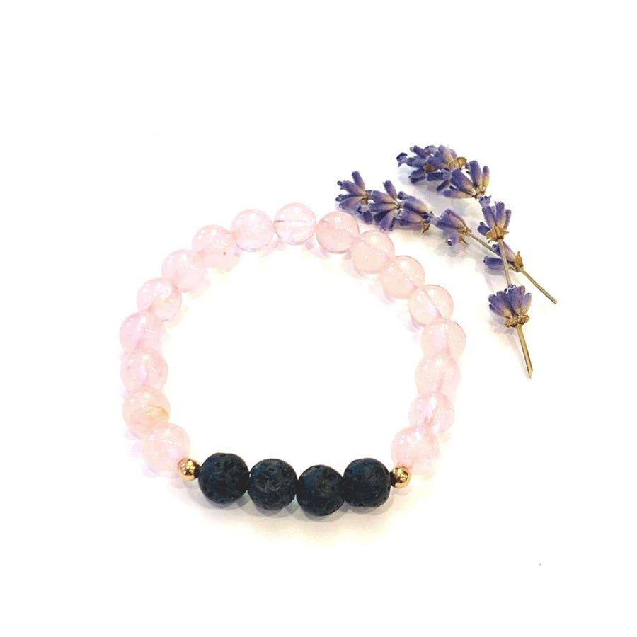 Rose Quartz + Lava Bracelet - Mala & Me- Gemstones with beautiful geometric pendents inspired by nature- Jewlery used for meditation, setting intentions and enhancing your yoga practice. Each gemstone holds unique healing properties