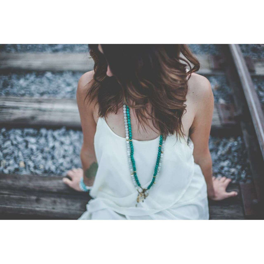 Moon Mala - Mala & Me- Gemstones with beautiful geometric pendents inspired by nature- Jewlery used for meditation, setting intentions and enhancing your yoga practice. Each gemstone holds unique healing properties