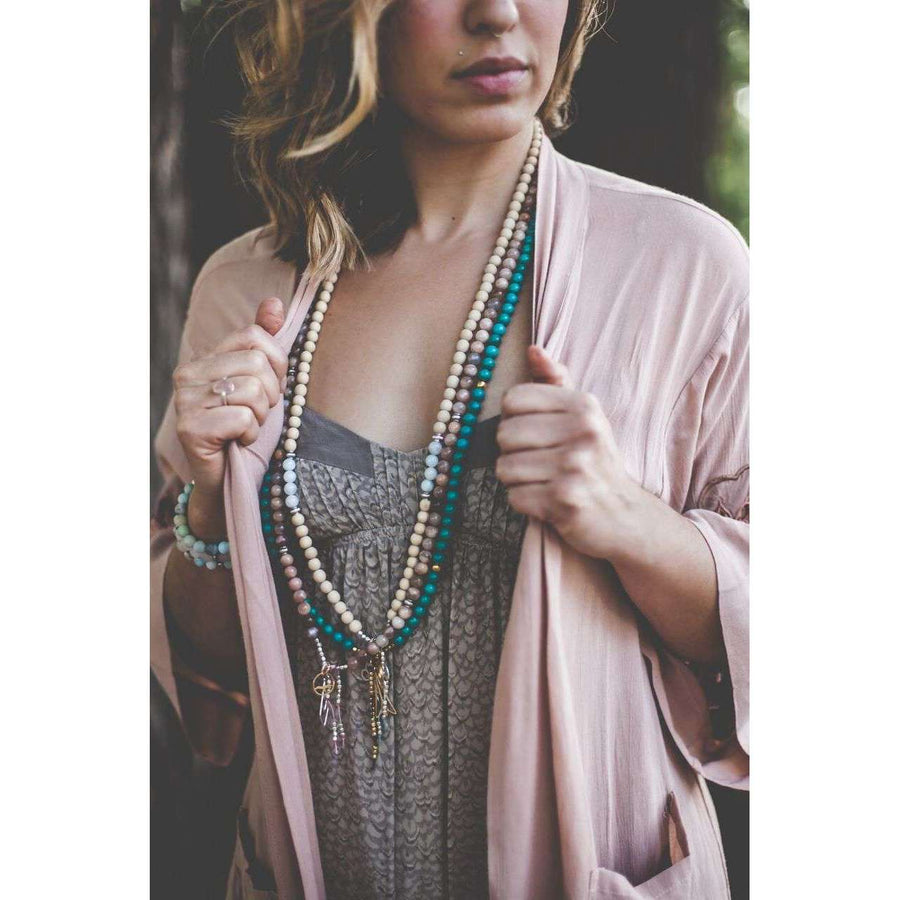 Inspiration Mala - Mala & Me- Gemstones with beautiful geometric pendents inspired by nature- Jewlery used for meditation, setting intentions and enhancing your yoga practice. Each gemstone holds unique healing properties
