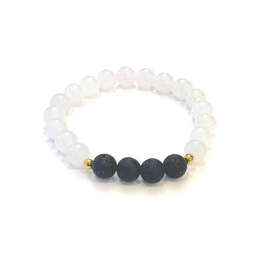 White Jade + Lava Bracelet - Mala & Me- Gemstones with beautiful geometric pendents inspired by nature- Jewlery used for meditation, setting intentions and enhancing your yoga practice. Each gemstone holds unique healing properties