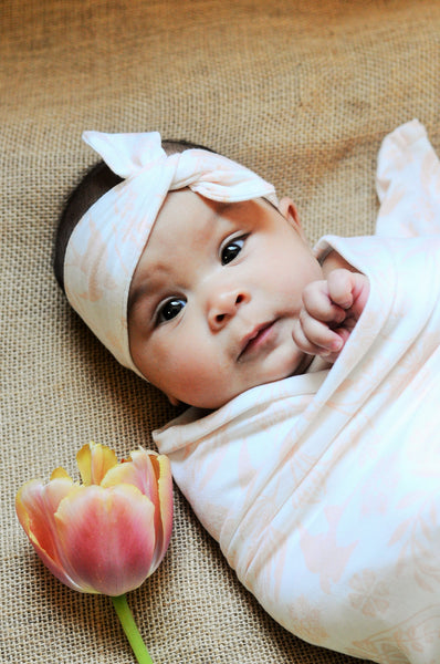 Pink Swallow Jersey Knit Swaddle Blanket & Headband