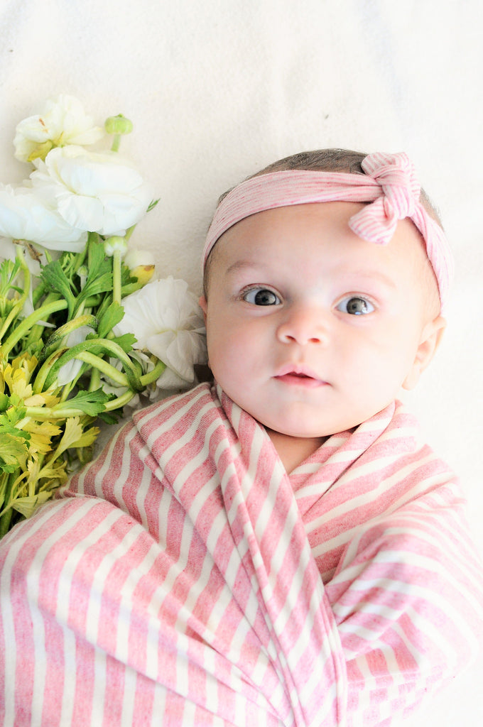 Pink Stripe Organic Knit Swaddle Blanket & Hat or Headband