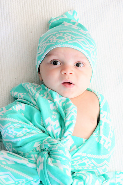Turq Tribal Jersey Knit Swaddle Blanket & Hat or Headband