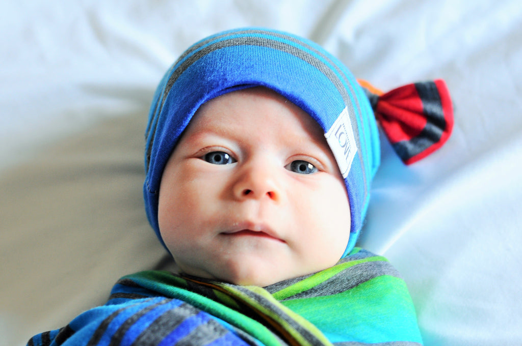 Rainbow Jersey Knit Blanket & Hat