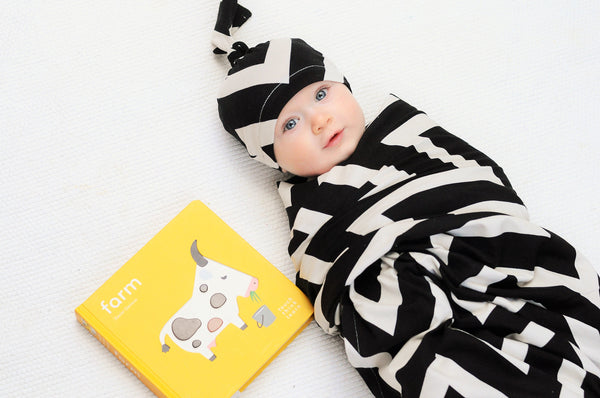Black Chevron Jersey Knit Swaddle Blanket & Hat
