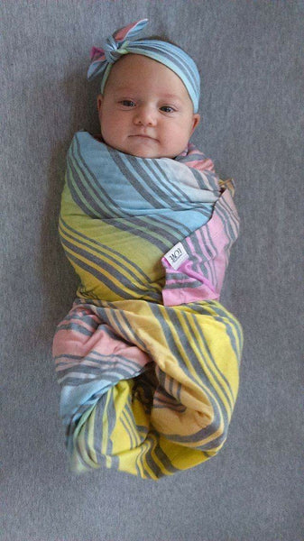 Pastel Rainbow Swaddle Blanket & Headband