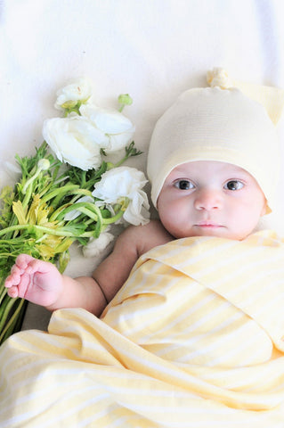Yellow Stripe Organic Knit Swaddle Blanket & Hat or Headband