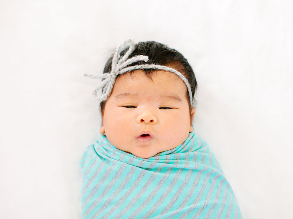 Grey & Powder Blue Stripe Jersey Knit Swaddle Blanket