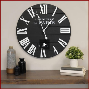 "The ""Vincent"" Black and White Wall Clock - Hen & Tilly Farmhouse Sinks"