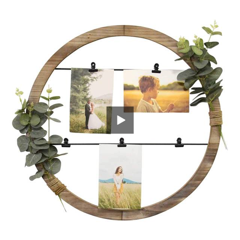 Image of Rustic Eucalyptus Photo Holder Wall Decor - Hen & Tilly Farmhouse Sinks