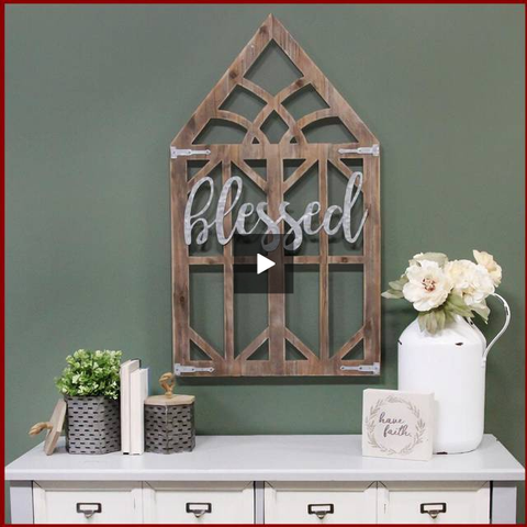 "Image of ""Blessed"" Farmhouse Wooden Window Frame - Hen & Tilly Farmhouse Sinks"