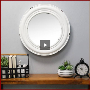 White Priscilla Distressed Wall Mirror - Hen & Tilly Farmhouse Sinks