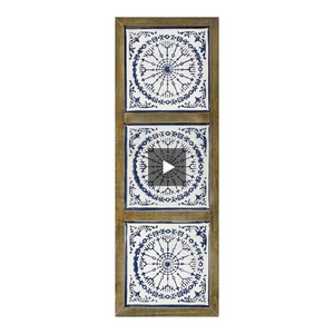 Distressed Blue and White Medallion Wall Decor - Hen & Tilly