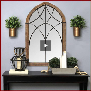 Augusta Cathedral Bronze Metal Mirror - Hen & Tilly Farmhouse Sinks